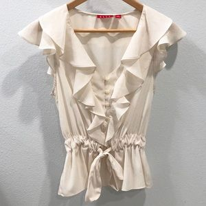 Elle Ivory Ruffle Blouse with Button Loops Size S